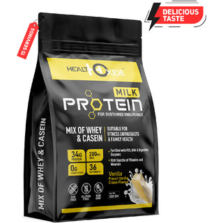 HealthOxide Milk Protein Mix Of Whey  Casein Protein With DHA  Digestive Enzymes Protein Blends  (500 g,Vanilla)
