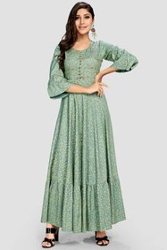 Vaikunth Fabrics Grey Printed Anarkali Stitched Kurtis