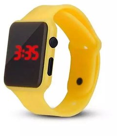 Farp Digital Led Watch Rubber Type Yellow Colour Boys And Girls Watch Kids Watch