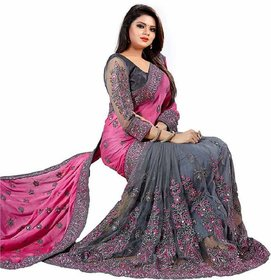 Embroidered Bollywood Grey & Pink Georgette Saree With Blouse