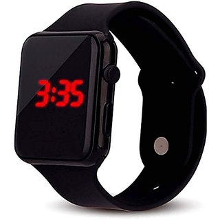 FARP Digital Led Square Dial Black Strap Rubber Watch Boys And Girls