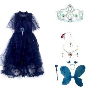 Baby Girl Blue Poncho Pari Butterfly Costume Frock Dress With Jewellery And Crown