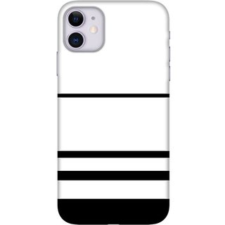 Onhigh Designer Printed Hard Back Cover Case For Iphone 11, White & Black Lines