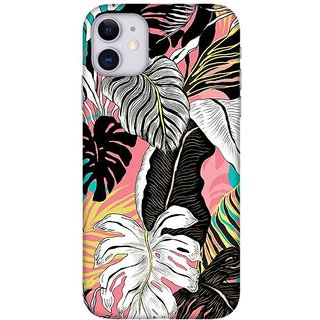Onhigh Designer Printed Hard Back Cover Case For Iphone 11, White Leaves
