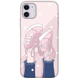 Onhigh Designer Printed Hard Back Cover Case For Iphone 11, Pink Shoes Look
