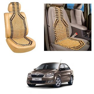 Autoright Car Acupressure Wooden Bead Seat Set Of 1-Skoda Rapid