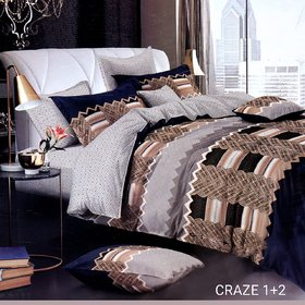 Home Crown Gray Coffy Glace Cotton Double Bedsheet + 2 Pillow Cover