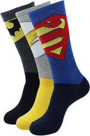 Justice League Men's Sports Socks - Superman, Batman, Flash - Pack Of 3