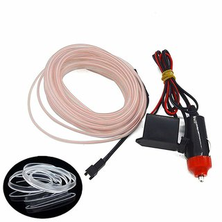 Autoright El Wire Car Interior Light Ambient Neon Light White For Mahindra Thar