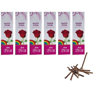 De-Ultimate Rare Collection(Pack Of 6) Premium Fresh Rose/Gulab Scented Dry Dhoopbatti Incense Sticks Box(10 Sticks)