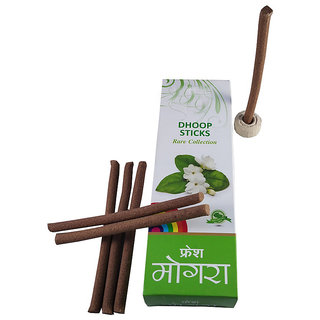 De-Ultimate Rare Collection(Pack Of 1) Premium Fresh Mogra/Jasmine Scented Dry Dhoopbatti Incense Sticks Box(10 Sticks)
