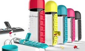 Pill Vitamin Organizer Water Bottle