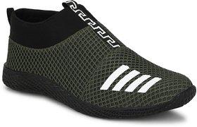 Bucik Men's Olive Flyknit Mesh Slip on Smart Casual Shoe
