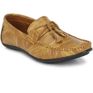 Bucik Men's Beige Synthetic Leather Loafers