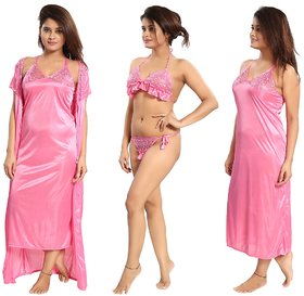 Reposey Light Coral Satin Nighty With Robe, Bra And Panty