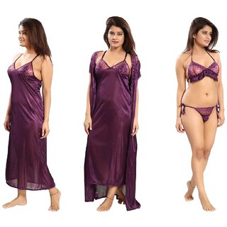 Reposey Purple Satin Solid Nighty With Robe, Bra and Panty Nightwear Sets