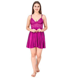 Reposey Purple Satin Babydoll