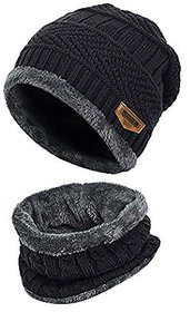 2-Pieces Winter Beanie Hat Neck Scarf Set Warm Knitted Fur Lined For Men Women