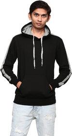 Gentino Men's Stylish Plain Hooded Black Sweatshirt