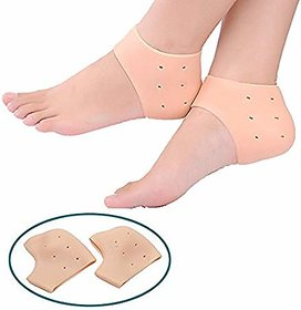 Kushahu Crack Heel Support Gel Flat Foot Support Silicon Cushion Heel Pad Moisturizing Silicone Gel Heel Socks Fre Size