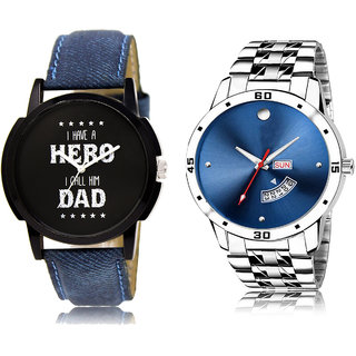 Adk Lk-07-105 Black & Blue Dial Day & Date Functioning Watches For Men