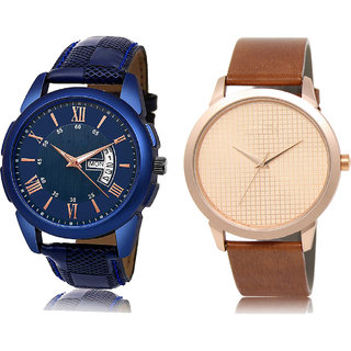 Adk Jg-01-Lk-34 Blue & Brown Dial Day & Date Functioning Watches For Men