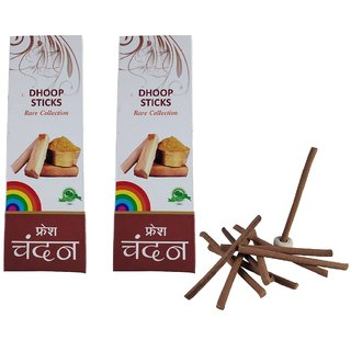 Utkarsh Rare Collection(Pack Of 2) Premium Fresh Sandal/Chandan Scented Dry Dhoopbatti Incense Sticks Box(10 Sticks)
