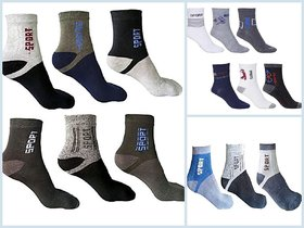 Rayyans (Pack Of 6 Pairs) High Quality Imported Git Lan Sports Ankle Socks Free Size (Color Design And Print May Differ)