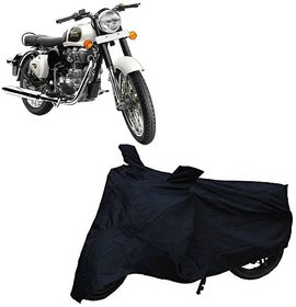 De Autocare Black Matty Two Wheeler Bike Body Cover For Roy@L En-Field Bullet Classic 350 With Mirror Pocket