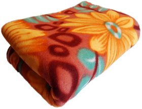 Floral Fleece Blanket For Single Bed By Aanand (Polyester, Multicolor)