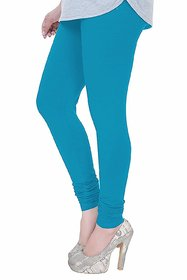 Pack Of 1 Cotton Lycra Churidar Leggings For Womens Sky Blue Free - Size