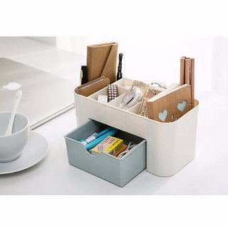 Evershine Cosmetic Storage Box Multi Functional Desktop Tidy Organiser Holder With Drawer Random Colour