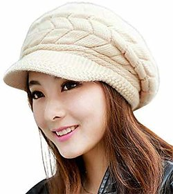 Winter Hats For Women Girls Warm Wool Knit Snow Ski Cap With Visor(Beige)