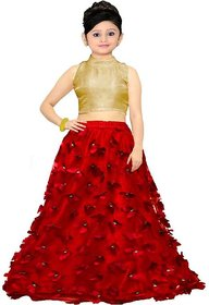 Red Butterfly Design Party Wear Lehenga Choli For Girls Semi Stitched by F Plus Fashion