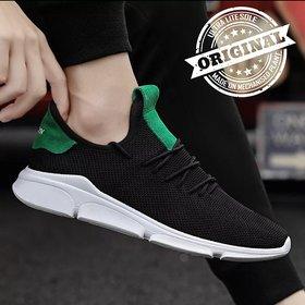 Clymb Black Mesh Pvc Sports Shoes For Men