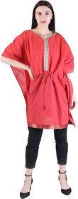 Kalila Self Design Cotton Chambray Blend Women Kaftan