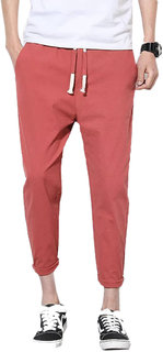 Pause Men Slim Fit Solid Ankle Length Trouser