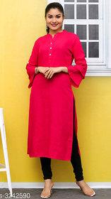 Dhruvi Casual Wear Cotton Slub Straight Red Kurti For Women