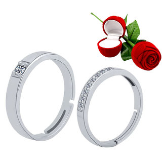 Silver Shine Silver Plated Adjustable Couple Ring With 1 Piece Red Rose Gift Box For Men And Women
