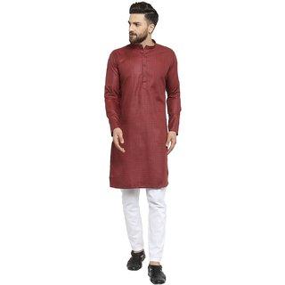 Rg Designers Maroon Cotton Blend Long Sleeve Traditional Kurta Pyjama Set For Men