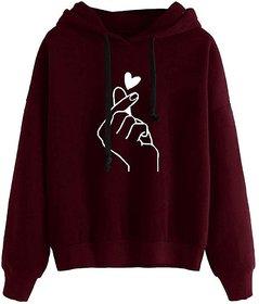 Raabta Fashion Maroon Heart Printed Hooded Sweatshirt For Women