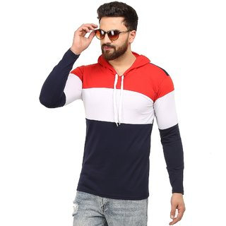 Red Brick Color Block Men Hooded Neck Red, White, Blue T-Shirt