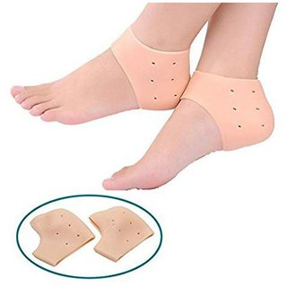 Silicone Gel Heel Pad Socks For Cracked Heels And Swelling Pain Relief For Men And Women - (Free Size) (1 Pair)