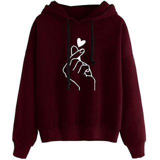 Raabta Fashion Maroon Heart Printed Hooded Sweatshirt For Women