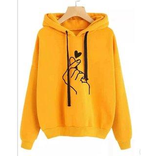 Raabta Mustard Heart Print Sweatshirt