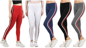 Eazy Trendz Womens Sports Yoga Gym Fitness Side Striped Jogger Tights Red Combo Pack Of 5 (Free Size)