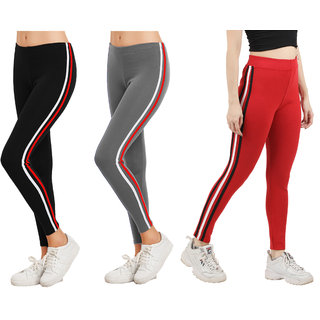 Eazy Trendz Womens Sports Yoga Gym Fitness Side Striped Jogger Tights Red Combo Pack Of 3 (Free Size)