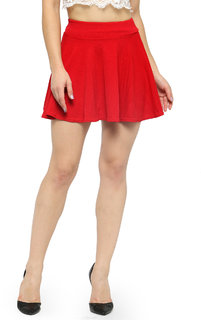 Nitein Mid Waist Flared Pleated Red Ruffle Skater Short Mini Skirt