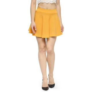Nitein High Waist Flared Mustard Knit Skater Short Mini Skirt