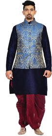 Inyour Men's Silk Navy Blue Kurta Maroon Dhoti With Royal Blue Waistcoat Set-Tr143-Kip-44